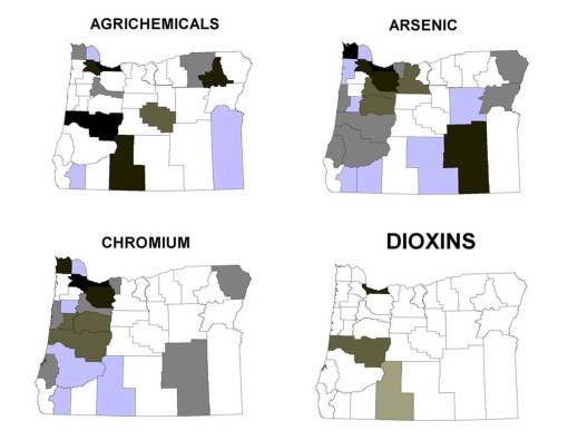 Four Chemical Classes and Spills or Releases, by County