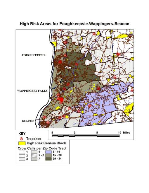 Crow Call density by Zip Code Tracts in the most populated section of the County