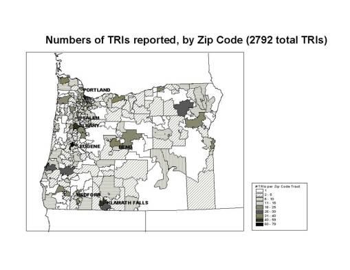 TRIs per Zip Code area