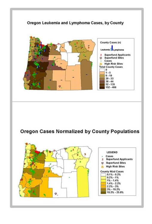 Oregon Case Counts data in relation to Case Counts Normalized by County Area to depict relative density differences between counties