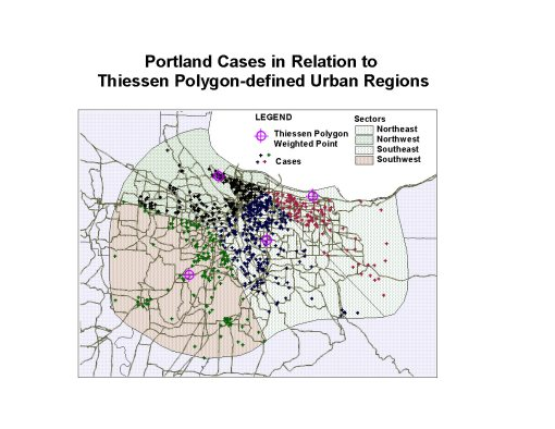 Case Distribution for several related cancer types in the Portland area.
