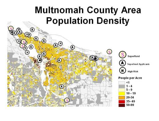 Sites in Relation to Blocks defined by Population Density Features