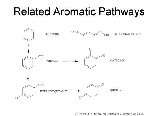 Simple chemical paths linked to benzene-related activities and the development of other suspected carcinogens