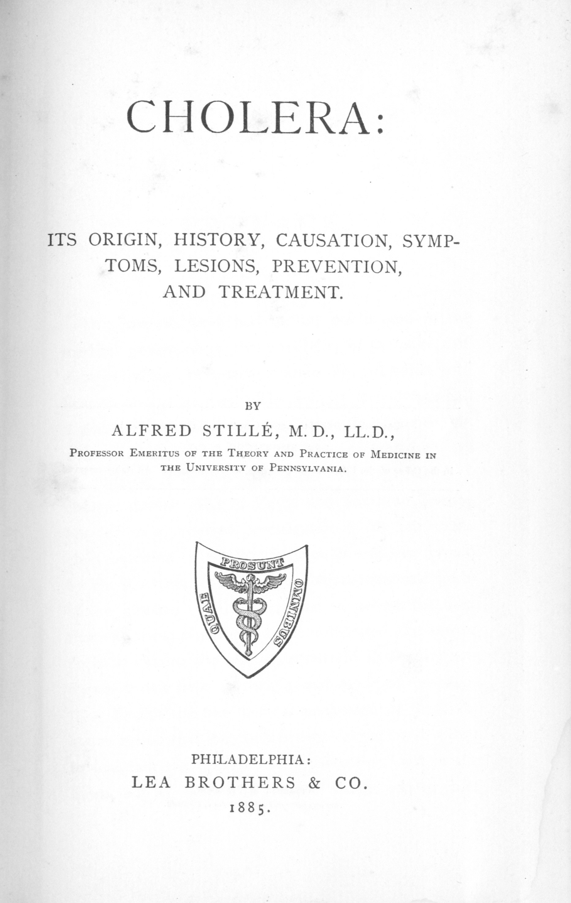 alfred e stille m d cholera vibrio and quarantine  alfred stille