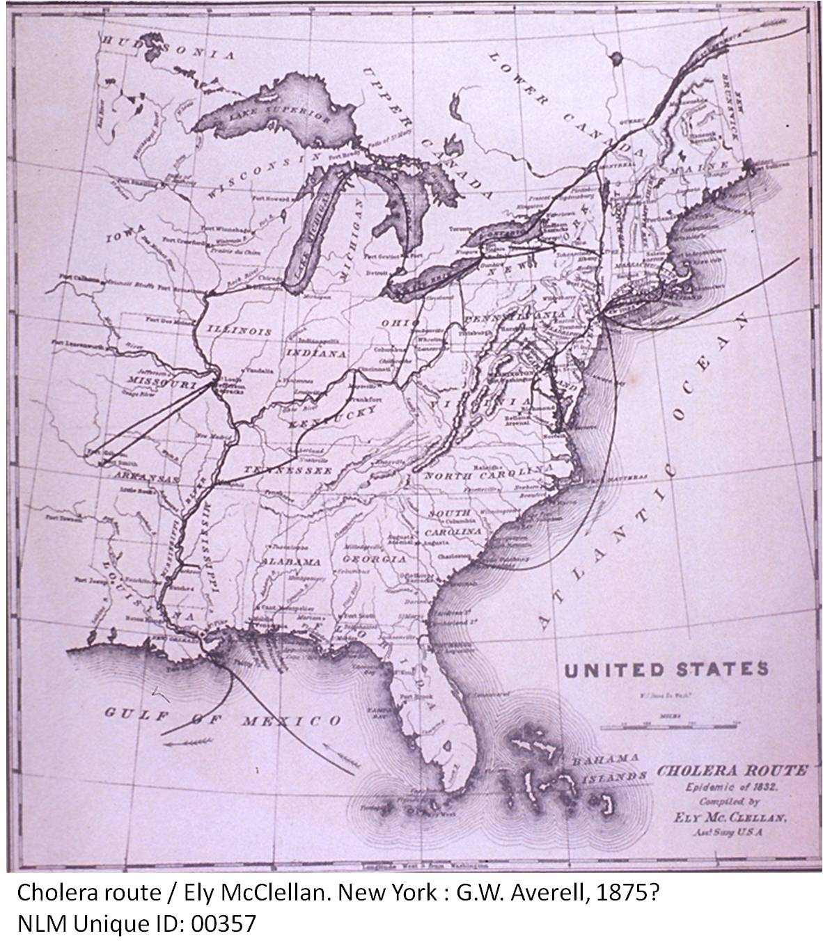 Ely Mcclellans Map Of The Us Cholera Epidemic In Drawn Up Cholera Map Us