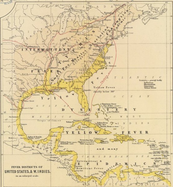 Alexander Keith Johnston Health Disease In North America - Syphilis map us circa 1700s