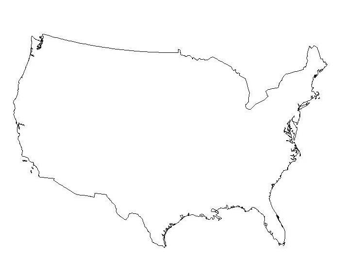Line Drawing United States Map : Contour map of usa my