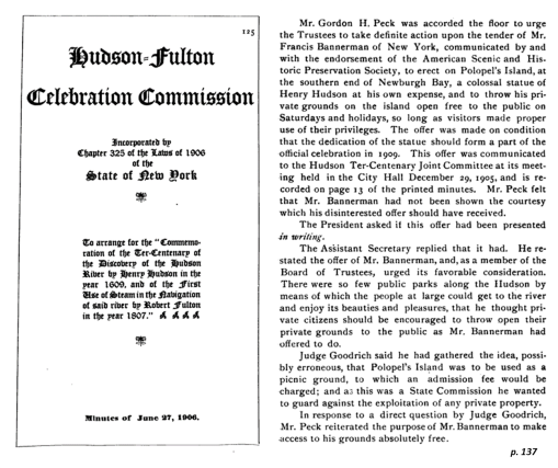 HudsonFultonCelebration_1906_BannermansStatement