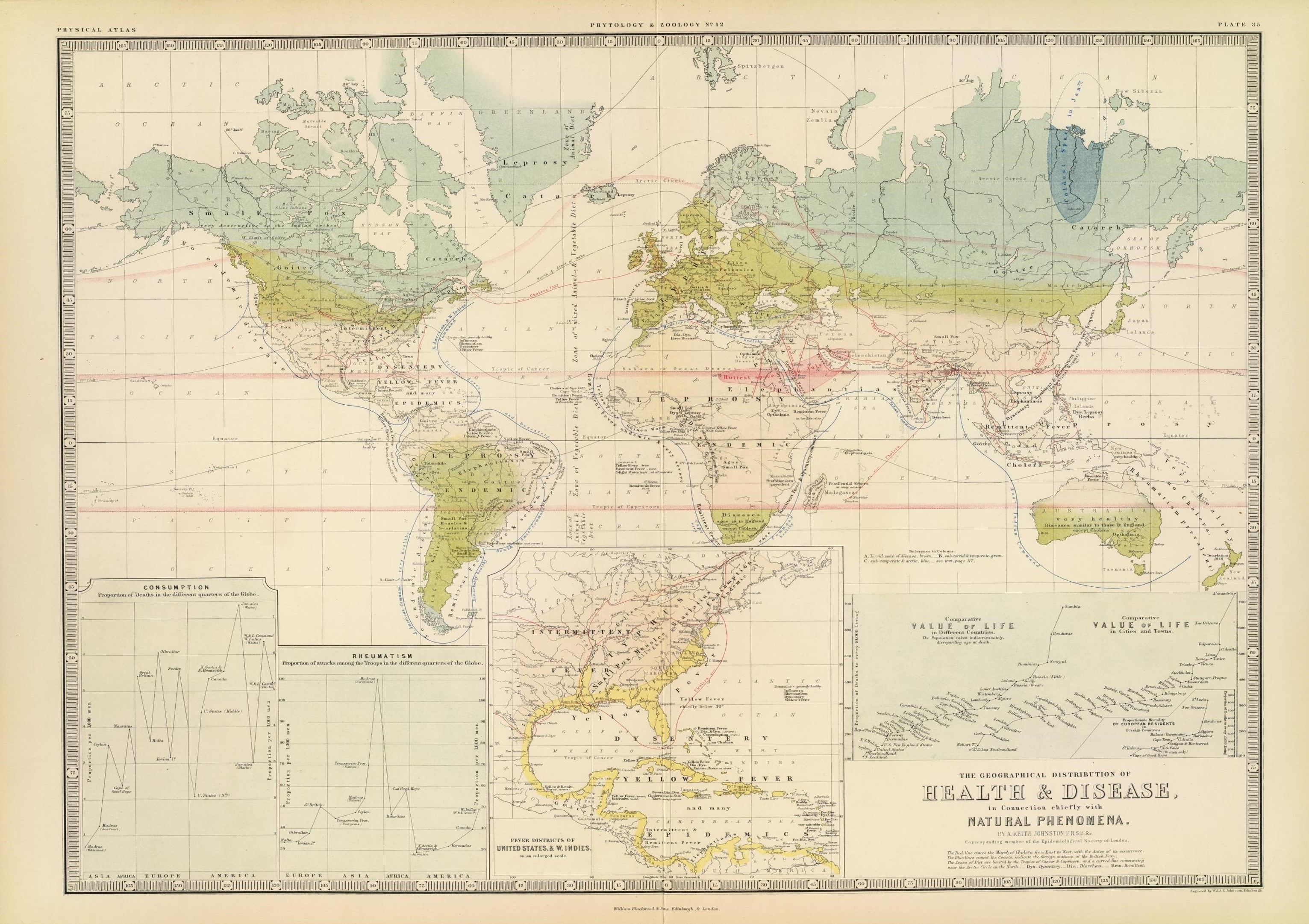 alexander keith johnston�s map of world diseases � a