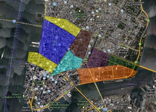 NYSanitationProject_SouthernManhattan_someoftheSanitationOfficerTerritories
