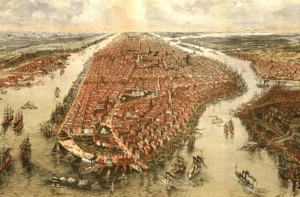 Manhattan Island Historical Map